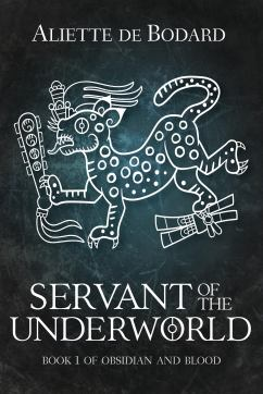 Book cover: Servant of the Underworld - Aliette de Bodard (Inca-styled line drawing of a threatening beasty)