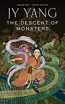 Book cover: The Descent of Monsters - JY Yang (a person in red robes and braids in an epic post standing on a dragon)