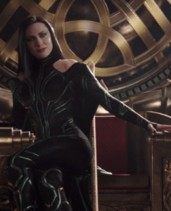Film still: Cate Blanchett as Hela on the throne of Asgard from Thor Ragnarok