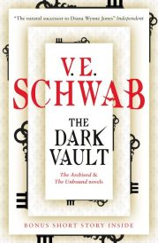 Book cover: The Dark Vault - V E Schwab (text on off-white layers, keys peeking out from the edges)