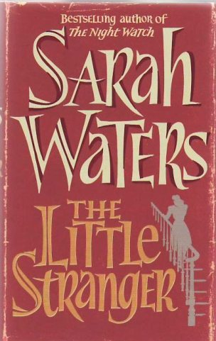 Book cover: The Little Stranger - Sarah Waters (text on red background with small grey silhouette of a woman going up stairs)