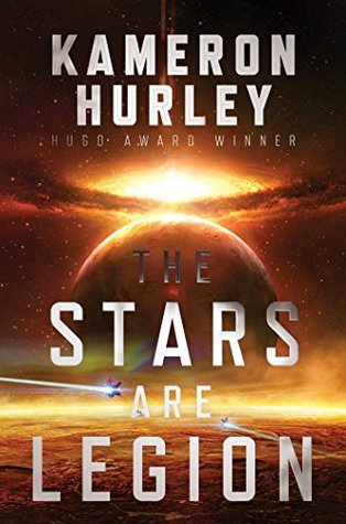 Book cover: The Stars are Legion - Kameron Hurley (two ships zooming towards a planet, shades of orange)
