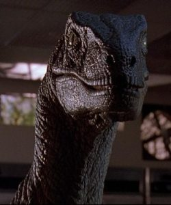 Film still: velociraptor from Jurassic Park