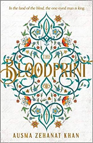 Book cover: The Bloodprint - Ausma Zehanat Khan (text on stylised graphical print of vines and flowers)