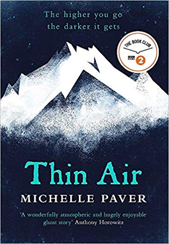Book cover: Thin Air - Michelle Paver (illustration, mountains against a field of dark blue)