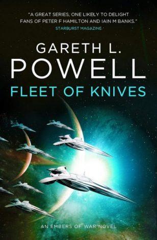 Book cover: Fleet of Knives - Gareth L Powell (ships in flight)