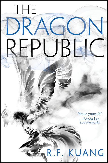 Book cover: The Dragon Republic - R F Kuang (pencil illustration, a winged person leaping)