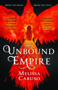 Book cover: The Unbound Empire - Melissa Caruso (a woman in a flame-coloured ballgown seen from behind, merging into the outline of a flame-coloured crow in flight)