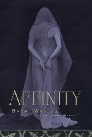 Book cover: Affinity - Sarah Waters (a statue of a veiled woman, seen from behind, hands reaching back)