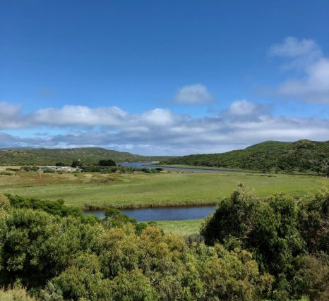 Lush green valley with a winding river, hills on the skyline - Princetown, VIC, Australia