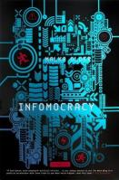 Book cover: Infomocracy - Malka Older (circuitry in teal on a black background, icons of red running men interspersed)