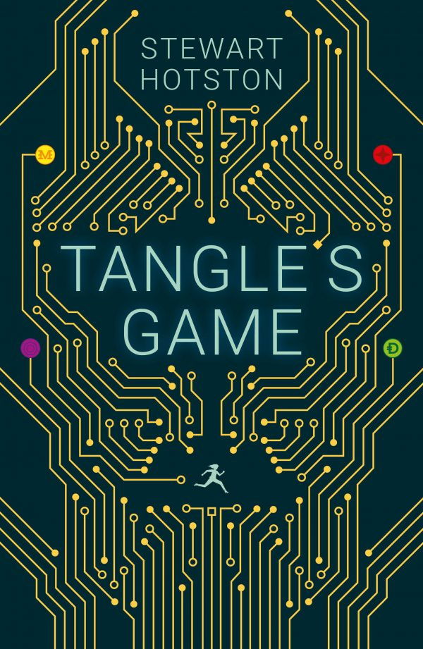 Book cover: Tangles Game - Stewart Hotston (a pictogram of a woman running through a silicon maze)