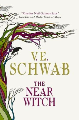 Book cover: The Near Witch - V E Schwab (a tree of coiling green and red vines reaches out across a white background, a crow saw on one branch)
