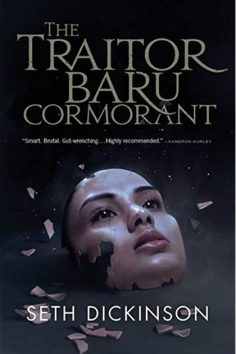 Book cover: The Traitor Baru Cormorant - Seth Dickinson (a fractured mask of a woman's face floating on a field of black)