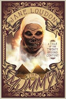 Book cover: The Mummy! - Jane Loudon (sepia pulp cover of preserved Cheops face in the sky over the pyramids)