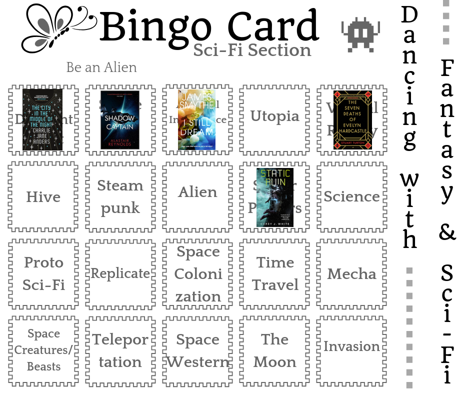 Dancing with SciFi dance card - book covers superimposed on completed prompts