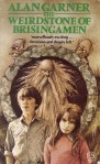 Book cover: The Weirdstone of Brisingamen - Alan Garner (a girl and a boy stare past you, an old bald guy with a batshit white beard stands in a circle of stone behind them, goblins peering over the arch)