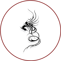 Stylised dragon glyph in a dark red circle