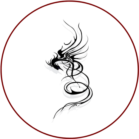 A stylised dragon (black line art on white background) in a red circle