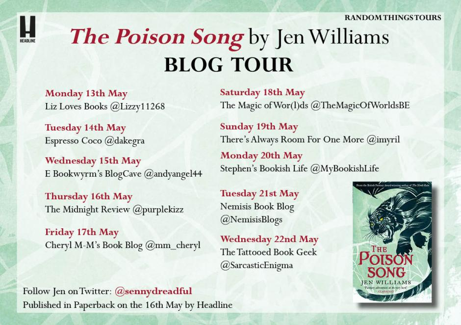 Text gif listing blog tour stops for The Poison Song launch