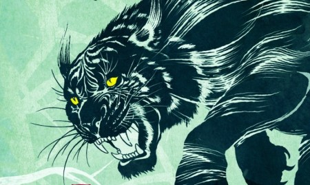 A snarling big cat with yellow eyes on a green background (illustration)
