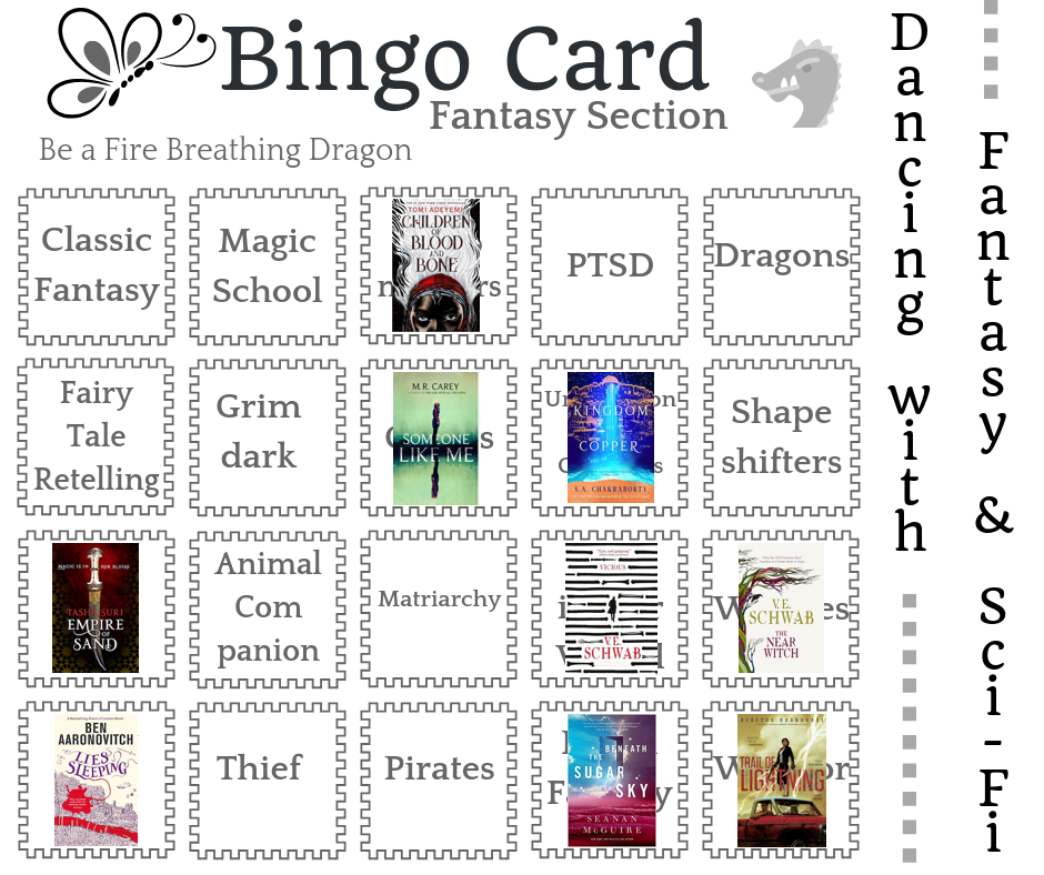 Dancing with Fantasy dance card - book covers superimposed on completed prompts