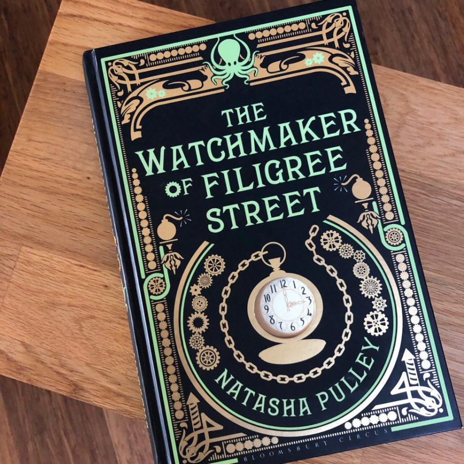 Book on a table: The Watchmaker of Filigree Street by Natasha Pulley