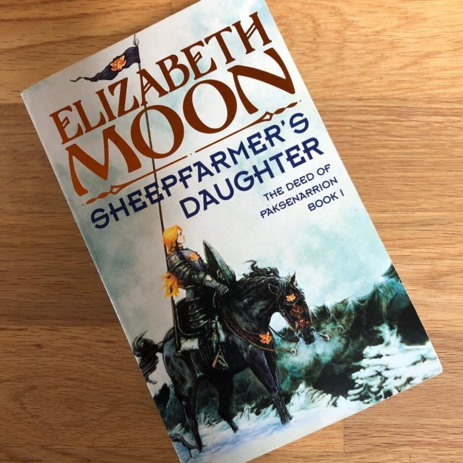 Book on a table: Sheepfarmers Daughter by Elizabeth Moon