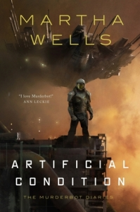 Book cover: Artificial Condition - Martha Wells (a suited figure stood against an amber cloud)