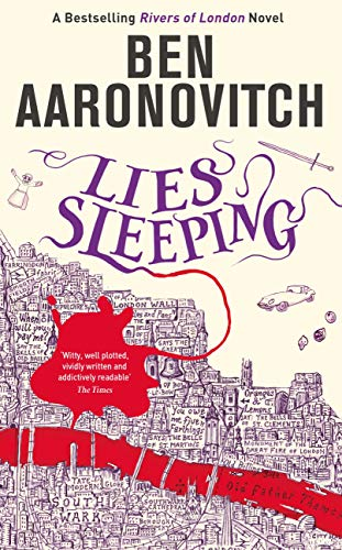 Book cover: Lies Sleeping - Ben Aaronovitch (a puddle of blood overlaying a figurative map of London)