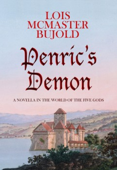 Book cover: Penric's Demon - Lois McMaster Bujold (a Mediterranean style castle on a hill against a pink sky)