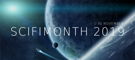 SciFiMonth 2019: 1-30 November (background image of a spaceship soaring away from a planet or moon, a distant star gleaming)