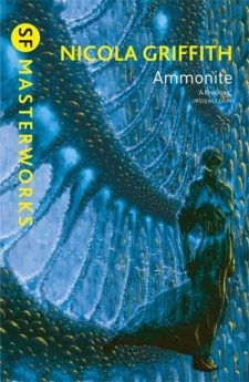 Book cover: Ammonite - Nicola Griffith (a winged woman with wings like an ammonite)