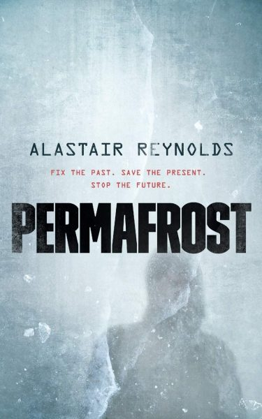 Book cover: Permafrost - Alastair Reynolds (a hooded silhouette in whiteout)