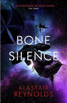 Book cover: Bone Silence - Alastair Reynolds (space ship on a field of purple-blue space)