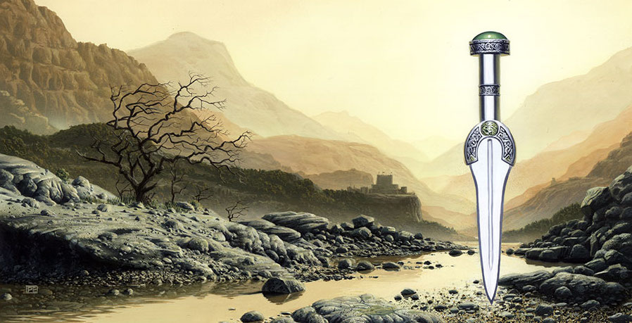 Illustration: a stony river valley in muted tan shades, with a silver dagger super-imposed