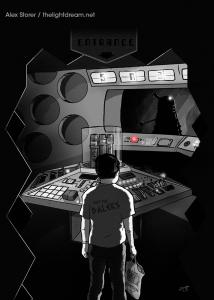 Alex Storer illustration: a boy stands on the set of Doctor Who