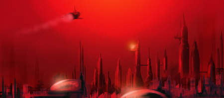 Craft in flight over a city of domes, entire view soaked deep red