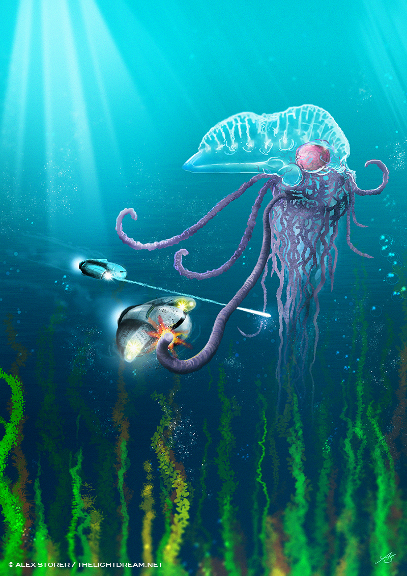 Artwork by Alex Storer: A small craft encounters a giant jellyfish type creature and engages it in battle