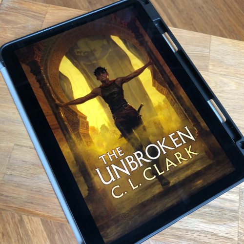 Digital book cover on an iPad: The Unbroken by CL Clark