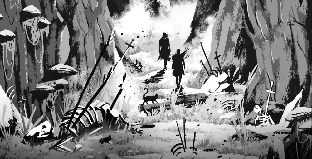 Cover art detail from The Blacktongue Thief (two characters and a cat in silhouette walking towards a raging fire); black and white illustration