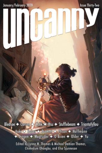 Cover art by Nilah Magruder: Uncanny Magazine issue 32 - Jan/Feb 2020