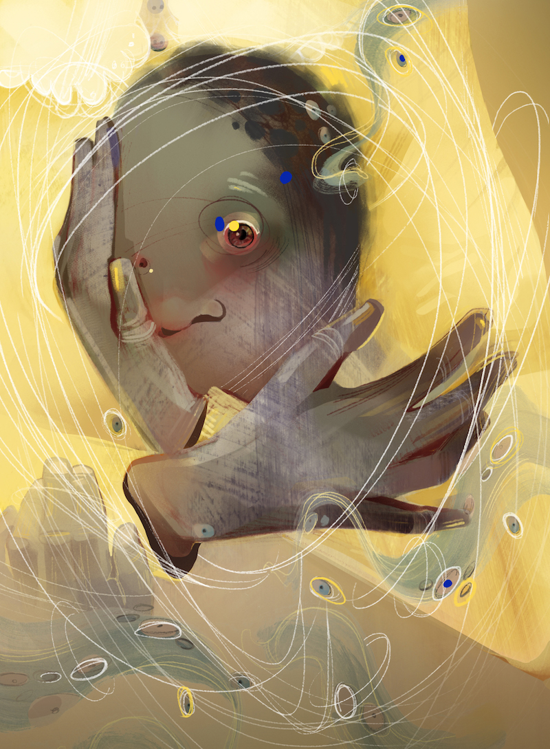Art by Mary Haasdyk: a face and hands emerging from a field of yellow